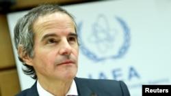 라파엘 그로시 국제원자력기구(IAEA) 사무총장이 9일 오스트리아 빈의 IAEA 보부에서 열린 이사회에 참석했다.