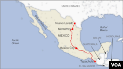 Bus route from Nuevo Laredo to Tapachula, Mexico