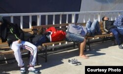 Young men and boys sleep on park benches in Izmir, Turkey, April 13, 2020. (Photo courtesy of refugees)