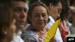 (FILES) In this file photo taken on May 22, 2016, Mercedes Barcha, the widow of Colombian writer and Nobel laureate Gabriel Garcia Márquez (1927-2014), at a ceremony in the former La Merced monastery…