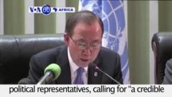 "VOA60 Africa - UN Secretary General Ban Ki-moon calls for ""a credible election"" in DRC"