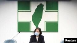 Taiwan President Tsai Ing-wen speaks to the media in Taipei, Taiwan, Aug. 12, 2020.