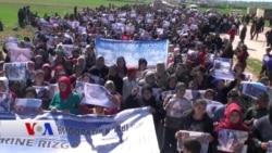 Efrînîyên Derbider li Şahba Rûsya Protesto Kir