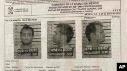 Foto dan catatan kriminal Victor Beltran yang dirilis pemerintah Mexico City, 28 Oktober 2017.