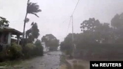 Cyclone Harold brings strong winds in Luganville, Vanuatu April 6, 2020, in this still image obtained from a social media video. Courtesy of Adra Vanuatu/Social Media via REUTERS. ATTENTION EDITORS - THIS IMAGE HAS BEEN SUPPLIED BY A THIRD PARTY…