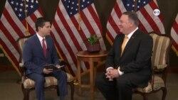 Secretario de Estado Mike Pompeo habla con la Voz de América