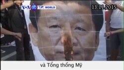 Philippines biểu tình phản đối Chủ tịch TQ và TT Mỹ (VOA60)
