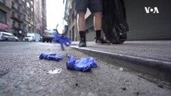 VOA英语视频: 纽约客随地乱丢口罩手套 危害公共卫生