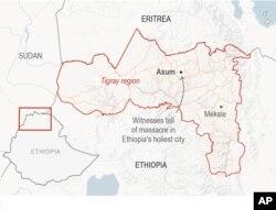 Ramani ya Axum, Ethiopia.