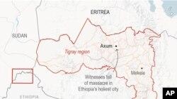 Map locates Axum, Ethiopia.