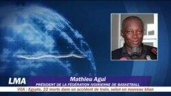 Mathieu Agui, président de la fédération ivoirienne de Basketball, au micro de Georges Ibrahim Tounkara