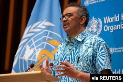 Tedros Adhanom Ghebreyesus, Director General of the World Health Organization attends the virtual 73rd World Health Assembly during the coronavirus disease outbreak in Geneva, May 19, 2020.