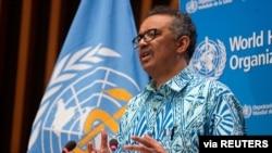 Tedros Adhanom Ghebreyesus, directeur général de l'Organisation mondiale de la santé assiste à la 73e Assemblée mondiale de la santé virtuelle lors de l'épidémie de coronavirus à Genève, le 19 mai 2020.