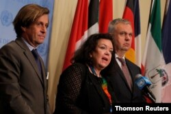 Nicolas de Riviere, French ambassador to the United Nations, Karen Pierce, the United Kingdom's ambassador to the U.N., and Jurgen Schulz, German deputy ambassador to the U.N., deliver a statement after a U.N. Security Council meeting on North Korea's latest missile launches, at the United Nations headquarters in New York, Aug. 1, 2019.
