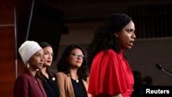 U.S. Reps Ilhan Omar (D-MN), Alexandria Ocasio-Cortez (D-NY), Rashida Tlaib (D-MI) and Ayanna Pressley (D-MA) hold a news conference on Capitol Hill in Washington, July 15, 2019.