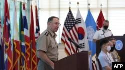 지난 7월 판문점에서 열린 한국전 정전 67주년 기념식에서 로버트 에이브럼스 주한미군 사령관 겸 유엔군사령관이 연설했다.