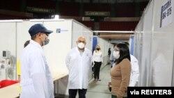 La vicepresidenta de Venezuela, Delcy Rodríguez, participa en la inauguración del hospital militar instalado en el Poliedro de Caracas para atención de enfermos de COVID-19, el 31 de julio de 2020.