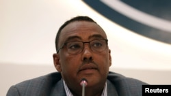 FILE - Ethiopian Foreign Minister Demeke Mekonnen gives a press briefing at the prime minister's office in Addis Ababa, Ethiopia, Nov. 4, 2020.