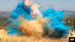FILE - This April 23, 2017, photo from video provided by the U.S. Forest Service shows a gender reveal event in the Santa Rita Mountain's foothills, southeast of Tucson, Ariz. The explosion from the reveal ignited the 47,000-acre Sawmill Fire.