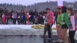 په الاسکا کې د شمالي قطب په کنگل اوبو کې لامبو: