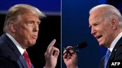 도널드 트럼프(왼쪽) 미국 대통령과 조 바이든 민주당 대통령 후보가 지난 22일 테네시주 내슈빌 벨몬트대학교에서 열린 마지막 텔레비전 토론에서 발언하고 있다.