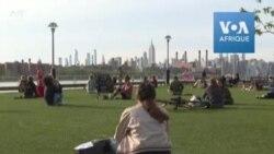 Coronavirus: des cercles de distanciation sociale dans un parc à New York