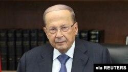 Presiden Lebanon Michel Aoun di istana Baabda. (Foto: dok).