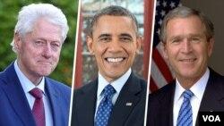 به ترتیب از راست: جورج دبلیو بوش، باراک اوباما، و بیل کلینتون، سه رئیس جمهوری پیشین آمریکا، برای دریافت این واکسن داوطلب شدهاند