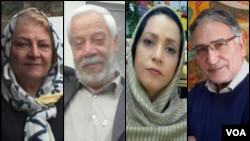 از راست: محمد نوریزاد، زهرا جمالی، هاشم خواستار و گیتی پورفاضل از امضاکنندگان بیانیه ۱۴