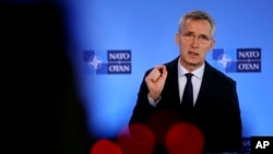 NATO Secretary-General Jens Stoltenberg speaks during a media conference at NATO headquarters in Brussels, Friday, Feb. 28, 2020. Ambassadors from the NATO military alliance are holding emergency talks Friday after Turkey requested a meeting with…