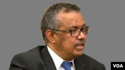 Tedros Adhanom Ghebreyesus headshot, as WHO director-general, graphic element on gray