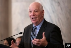 Sen. Ben Cardin, D-Md., holds a briefing on Capitol Hill in Washington, July 31, 2019.
