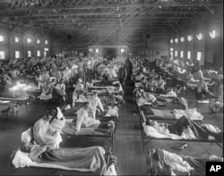 FILE - Influenza victims crowd into an emergency hospital near Fort Riley, Kansas in 1918, when the Spanish flu pandemic killed at least 20 million people worldwide.