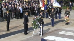 President Obama Lays Wreath at Tomb of Unknown Soldier at Arlington National Cemetery