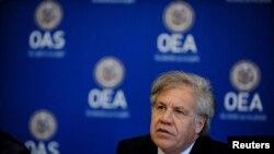 El Secretario General de la OEA, Luis Almagro, participa en la conferencia de prensa de la Organización de Estados Americanos (OEA). Foto archivo de 29 de mayo, 2018.