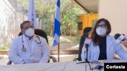 Miembros de la Unidad Médica Nicaragüense en conferencia de prensa. Foto cortesía Unidad Médica.