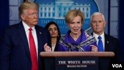 La doctora Deborah Birx, coordinadora de la fuerza de tarea presidencial para el coronavirus, habla durante una conferencia de prensa en la Casa Blanca.