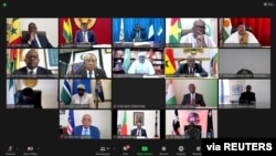 FILE - A screenshot shows a teleconference during the extraordinary Summit of ECOWA Authority of Heads of State and Government on the Socio-Political Situation in Guinea, Sept. 8, 2021. (ECOWAS/Handout via Reuters)