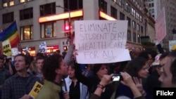 Students protest debt borrowed for college and university.