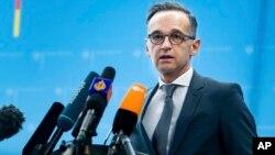 Menteri Luar Negeri Jerman Heiko Maas berbicara di Berlin