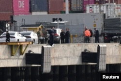 Governor Gavin Newsom inspects the location at the Port of Oakland, where the Grand Princess cruise ship carrying passengers who have tested positive for coronavirus is expected to dock, in Oakland, California, March 8, 2020.