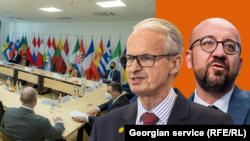 Коллаж: Заседание Еврсовета, посол ЕС Кристиан Даниэлсон, президент ЕС Шарль Мишель