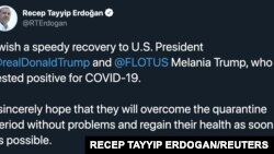 Turkey's President Recep Tayyip Erdogan's tweet after U.S. President Donald Trump and first lady Melania Trump tested positive for the coronavirus is seen in this screen grab obtained from social media on Oct. 2, 2020.