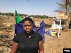 Rachel Kamangira of Broad Coalition Against Sanctions in Harare, Aug. 20, 2019. (C. Mavhunga/VOA)