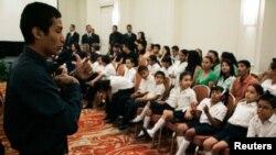 Un grupo de niños con discapacidad participan en la tercera reunión del Comité Americano para la Eliminación de Todas las Formas de Discriminación contra las Personas con Discapacidad en San Salvador, 26 de abril de 2010.
