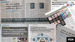 Medios de comunicación en los países del Triangulo Norte de Centroamérica abordaron la problemática de la corrupción enquistada en sus países desde los diferentes perspectivas señalando a los mencionados en la lista Engel publicada este jueves por el Cong