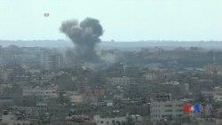 2014-07-16 美國之音視頻新聞: 以色列繼續空襲哈馬斯官員住宅被炸