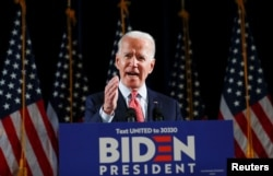 Democratic U.S. presidential candidate and former Vice President Joe Biden speaks about the COVID-19 coronavirus pandemic at an event in Wilmington, Delaware, March 12, 2020.