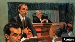 U.S. District Judge Kevin Duffy, shown here in a 1997 courtroom sketch, presided over the trial of the men behind the 1993 World Trade Center bombing.
