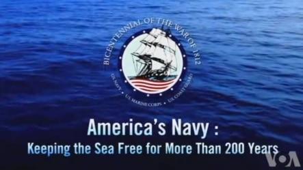 视频上的英文字是:美国海军:维护海洋自由航行两百多年。